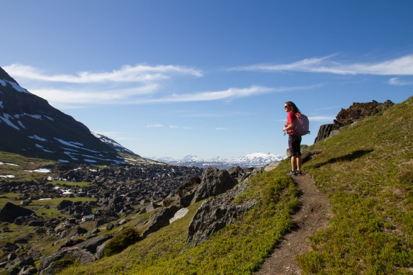 A woman hiking through Kärkevagge, Swedish Lapland.