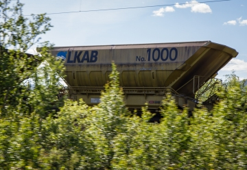 The LKAB golden iron ore wagon no.1000.