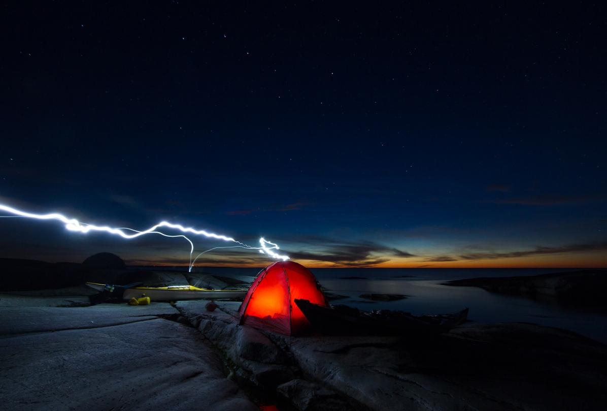 Tent under the stars at island of Håkanskär, Stockholm archipelago.