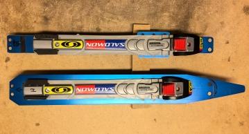 Skyllermarks Blå långfärdsskridskor med SNS-PILOT-bindning, före och efter modifiering