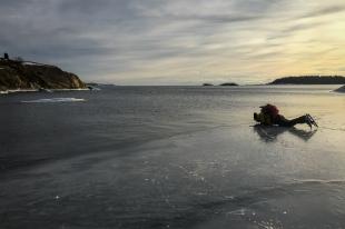 Långfärdsskridskoåkare ligger på mage intill iskant och provsmakar vattnet.