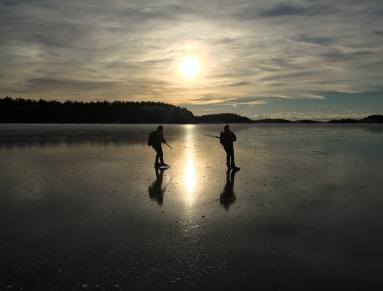 Långfärdsskridskoåkare njuter av blankis på Nynäsviken.