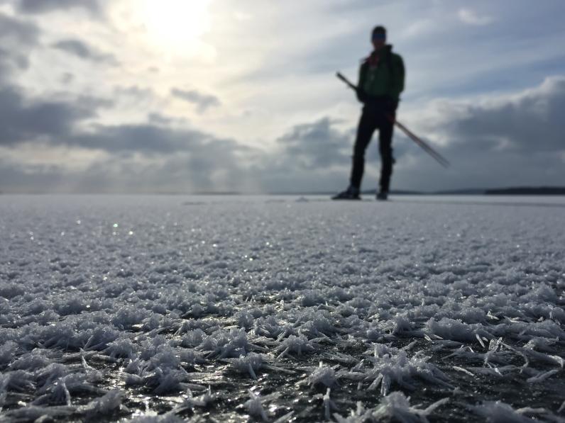 Långfärdsskridskoåkare bland frostrosor på Mälaren