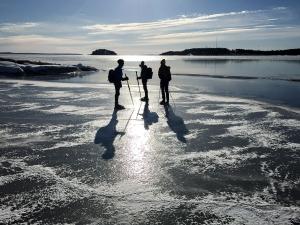 Långfärdsskridskoåkare i Stockholms skärgård