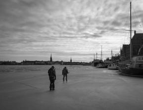 Långfärdsskridskoåkare på Riddarfjärden