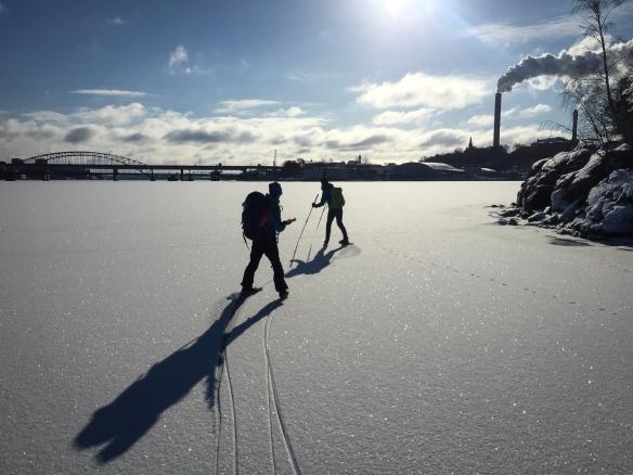 Långfärdsskridskoåkare på Lilla Värtan