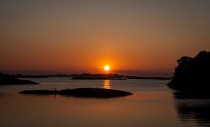 Solnedgång över Stockholms skärgård