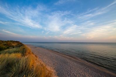 Vy längs stranden längs västra sidan, Gotska Sandön