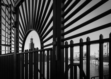 Stockholm city hall framed by designed pier gate