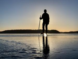 Långfärdsskridskor i soluppgången på sjön Båven, Sörmland