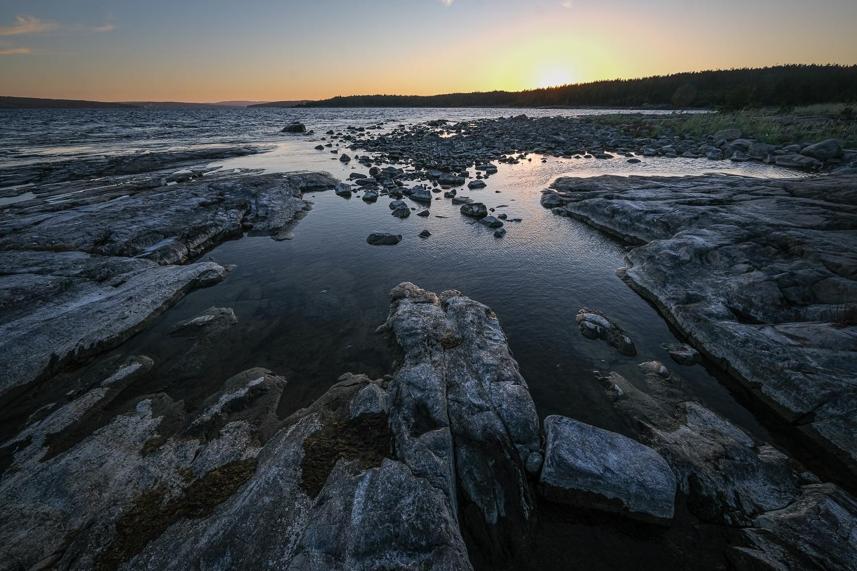 Solnedgång över Lungön, Höga kusten