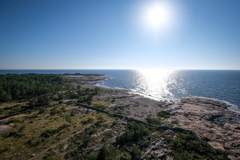 Utsikt väster ut från Örskärs fyr, Norra Roslagens skärgård