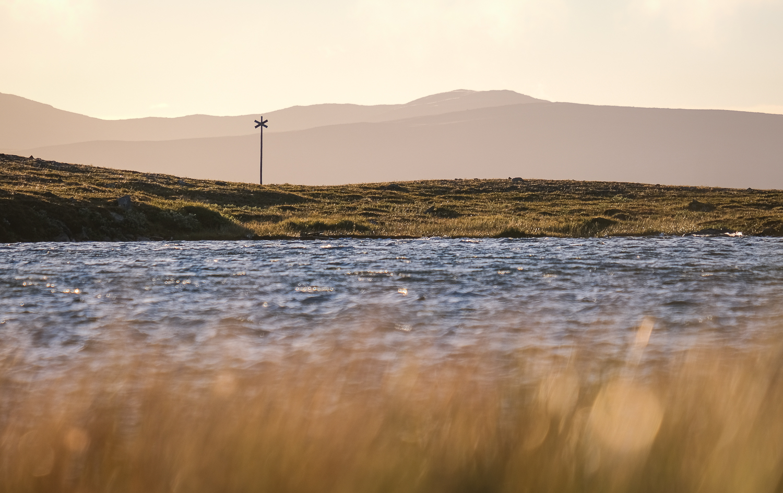 Ett ledkryss vid en tjärn strax söder om Helags